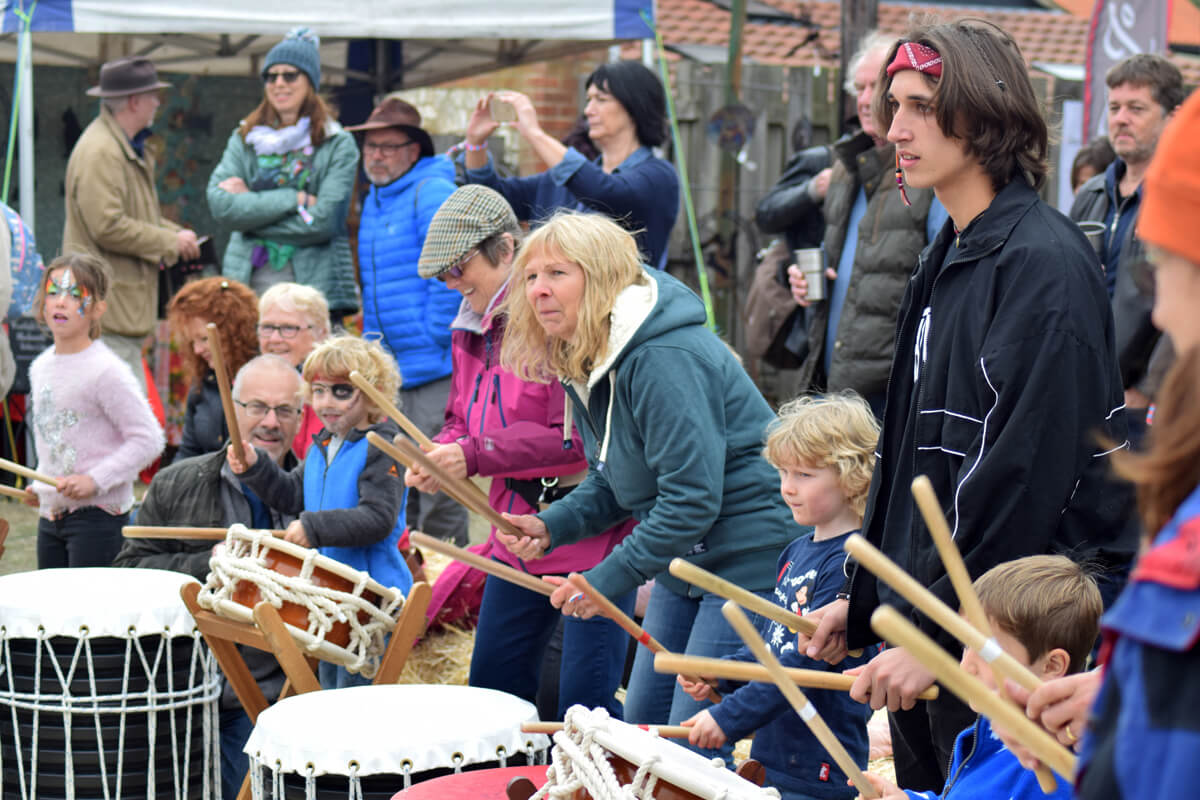 Drumming at Deepdale Festival