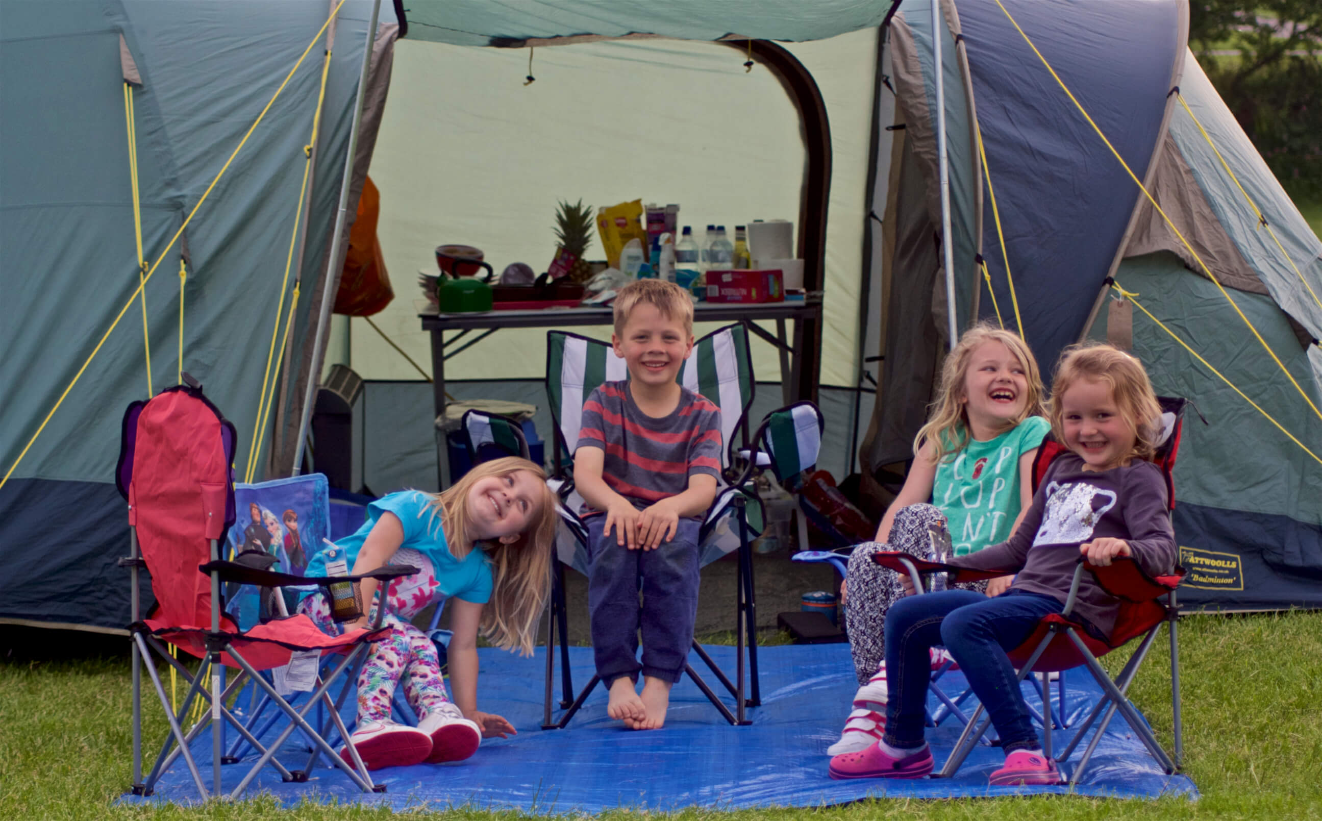 Kids enjoying camping at Stowford Farm Meadows